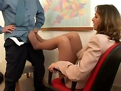 footjob in nylons at the office