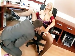Busty vitmate bawnlod fucking on an office desk wearing thigh high lingerie