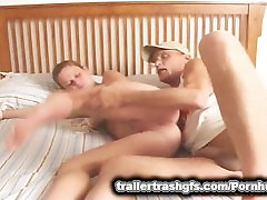 Trailer Trash Slut gets her check group fucked with dildo on a stick!