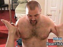 Hairy gay bears jerking cock