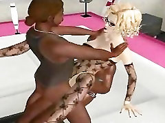 Sexy 3D catch on act blonde gets fucked by two ebony studs