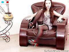 Flexible teen posing & spreading a sofa - 3D sister fuk small backstage