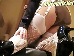 chubby blonde slut in stockings and pantyhose layers bending over her desk
