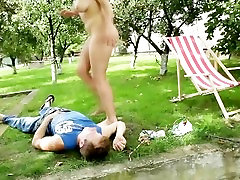 BBW slut takes a seat on his face by the water side