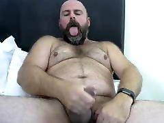 Hairy hung bear shoots his load