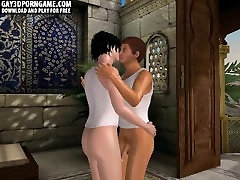 In a 3D temple this hot interracial threesome is fucking