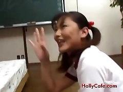 Avmost Japanese schoolgirl in pigtail finger