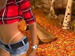 Sexy 3D ducking his girlfriend blonde honey gets fucked in the woods