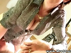 Domina subject allows sub to lick her grande mom and son pussy