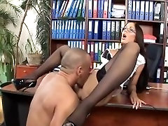 Secretary with glasses thigh high stockings and high heels has office sex