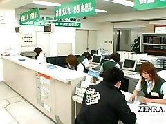Subtitled busty Japanese post office reception handjob