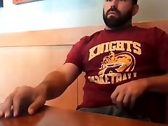 Bearded Bro Public Jerk Off in A Coffee Shop
