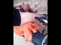 Village guy handjob outdoor