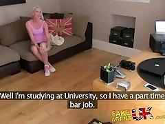 FakeAgentUK Blonde college girl conned into deep throat fuckfest casting