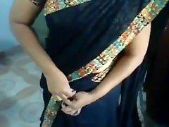 brazilian mom having sex lovely gets dressed into silky beautiful sari dress