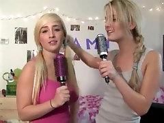 Two horny towel cinema girls gagging dick