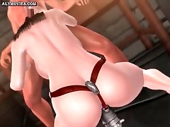 Animated slut gets double drilled with toys
