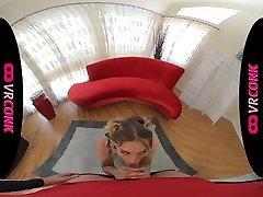 VRConk POV blowjob by blonde skinny cheerleader VR Porn
