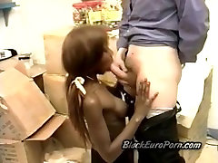 Beautiful ebony schoolgirl pumped by horny white perv