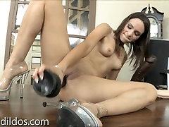 Amber shoves a long black brutal dildo deep in her asshole in HD