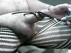 Hands free e-stim cum in pantyhose