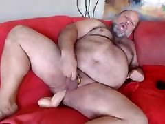 Chubby bear rides dildo and cums on cam