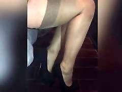 Shoeplay in nylon stockings