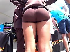 Tight small pow men spandex shorts candid ass