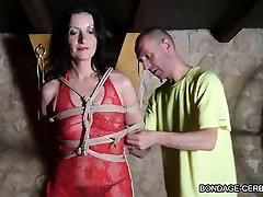 french 16 and aisan shibari bondage rope hogtied