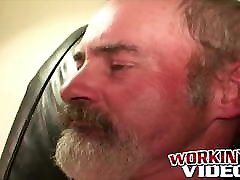 Sexy jerk off session with bearded old dude showing off