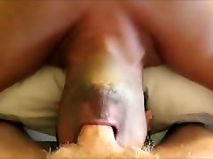 Twink chokes on a white monster&039;s cock and swallows his cum