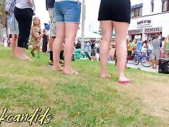 Candid Pale white dogs petnik girls with short shorts