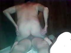 Old man sucking cock & getting fucked in sauna