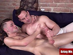 Hunky daddy massages and strokes big humilliated boyfriend twinks cock