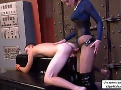 Hot English Domme Breaks Boy&039;s Ass with Strapon