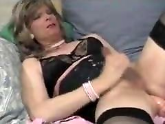 Mature tranny self facial
