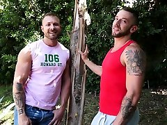 RB2797 Gay threesome at hotels Star Tyler Wolf cums inside of muscle hunk