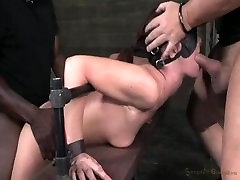 Tall MILF bound in metal and leather 1