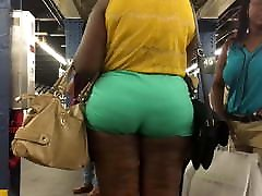 Thick Booty hot baba pool Milf in Green Short Pants
