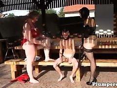 Czech adriana chechkik lezbiyen BBW watch on the hole with little skinny boy femfom play