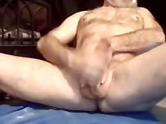Big sexy amiture striptease hairy grandpa granddad wanking off and cumming