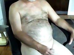 handsome hairy dad jerking off