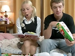 Blonde teen fucked up the asshole