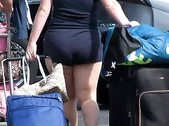 Juicy PAWG in booty shorts with cheeks hangin out