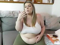 BBW Girl belly stuffing