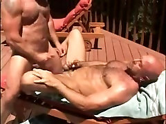 Muscle bears fuck near the pool