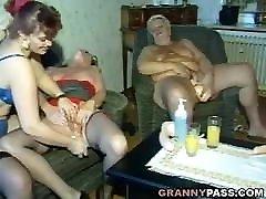 Granny Dildo Party Turns Hardcore Group Sex