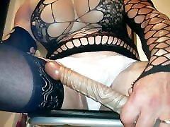 Big boob crossdresser 40cm dildo fuck