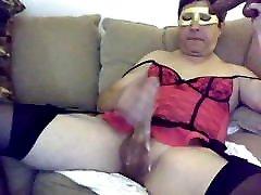 Crossdresser lingerie and dildo suck cum