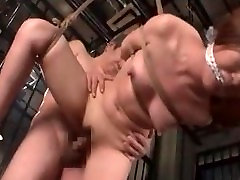 Tied up and caged lady nude naked MILF fucked hard in her slit